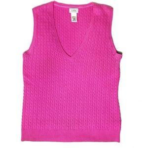 Vintage L.L Bean Pink Cable Knit Sweater vest Sz M